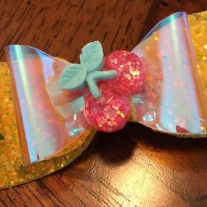 Baby Girls Bow! Little Girls Bow! Cherry and Gold!